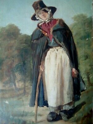 Very old Dutch art Lady in clogs expert help required ANTIQUE OIL PAINTING 1of2