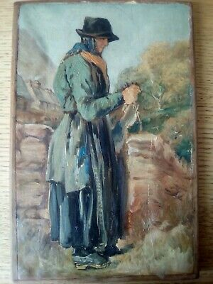 Old Dutch art Lady in clogs expert help required ANTIQUE OIL PAINTING 2 OF 2.
