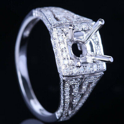 7Mm Round Cut Cubic Zirconia Engagement Semi Mount Ring Sterling Silver Jewelry