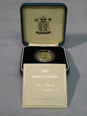 2006 Uk Silver Proof One Pound Coin Original Royal Mint Box & Certificate