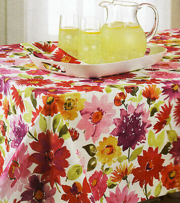 Spring Rectangle Tablecloth Veranda Pink Purple Yellow Floral 52 x 70 inch