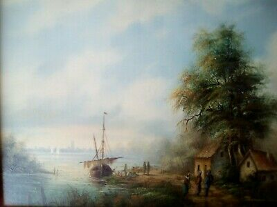 Country river estuary 19thc scene figures on TOWPATH & boat VINTAGE OIL PAINTING