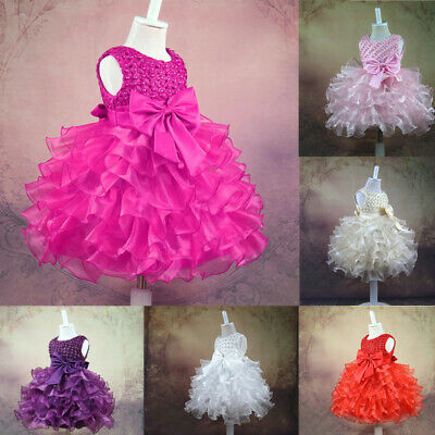 Fancy Dress Princess Tutu Baby Infant Girls Party Wedding Toddler Child Gown