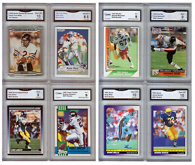 1-Lot of 40 Different 1990-1999 Graded Football Rookies w/Bettis/Faulk/Owens