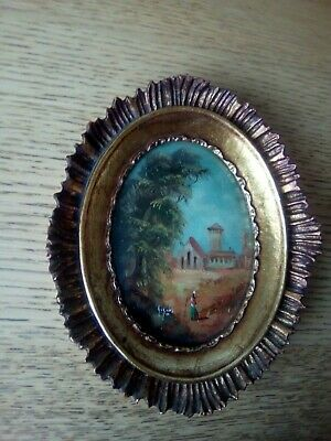 Miniature oval italian oil painting c1950 figure on the path framed and signed.