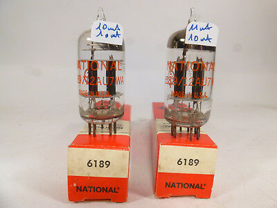 2* 6189 12AU7WA ECC82 National made in USA, triple stage mica, D getter NOS  NIB