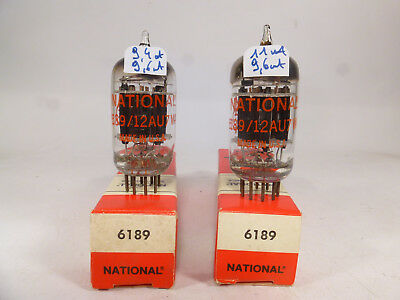 two 6189 12AU7WA ECC82 National made in USA, triple stage mica, tested, NOS  NIB