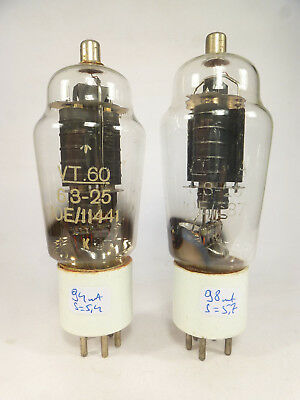 2 * ATS 25 807 4Y25 VT60 vintage tubes white ceramic base matched in U61C