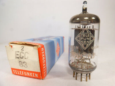 one ECC83 TFK Telefunken smooth plate diamond base <> NOS matched with U61