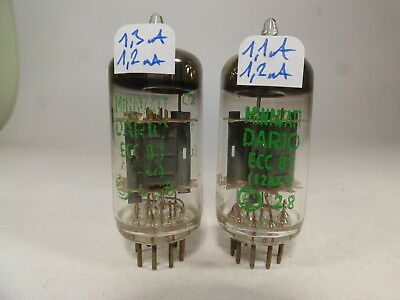 one rare pair 12AX7 ECC83 green label Miniwatt Dario code mC1 matched near NOS
