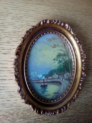 Miniature oval oil painting of a little steam boat and figures on the towpath.