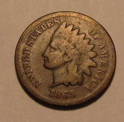 1865 Indian Head Cent Penny - Good Condition - 13SA-2