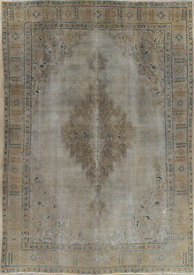ANTIQUE Geometric MUTED Silver Persian Oriental Hand-Knotted Distressed Rug 9x13