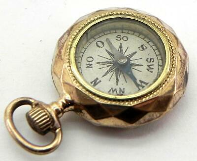 Antique Gold Plated Miniature Compass Fob, Working.