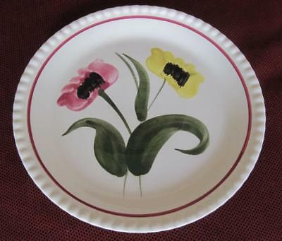 "Blue Ridge Southern Potteries Poppy Duet Hand Painted 9.25"" Plate on Candlewick"