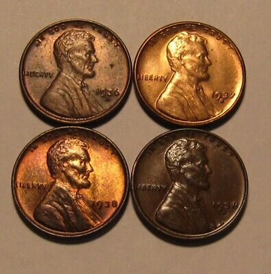 1936 S 1937 S 1938 1938 D Lincoln Cent Penny - Mixed AU/BU Condition - 106SA
