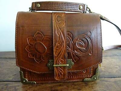 PATRICIA NASH Stella BROWN LEATHER Burnished Tooled FLORENCE SNAP FLAP SATCHEL