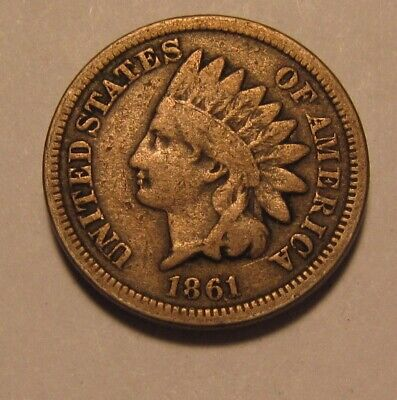 1861 Indian Head Cent Penny - Very Good to Fine Condition - 123SA