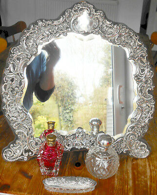 Large Sterling Silver Dressing Table Mirror - Antique 1905 - Easel Backed