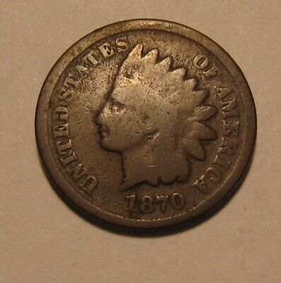 1870 Indian Head Cent Penny - Good to Very Good Condition - 133SA