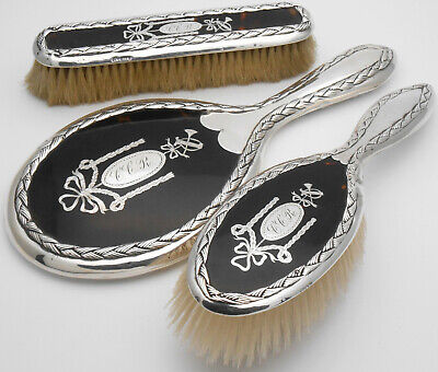 Sterling Silver Pique Brush & Mirror Set - London 1912 / 13 - Antique