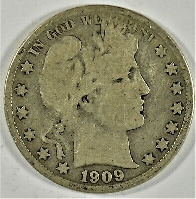 1909-S Inverted-S 50c Silver Barber Half-Dollar (b578.110)