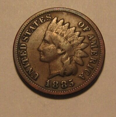1885 Indian Head Cent Penny - Very Good to Fine Condition - 145SA
