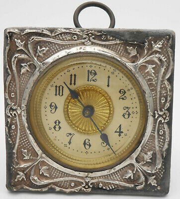 STERLING SILVER FRONTED TRAVEL CLOCK - BIRMINGHAM 1905 - ANTIQUE (a/f)