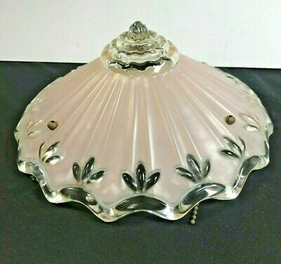 Vintage Glass Ceiling Light/Lamp Shade/Globe Pink on Clear Floral Design 10""