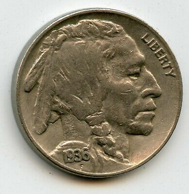 1936 S Indian Head / Buffalo Nickel  United States .05 Cent Coin  1