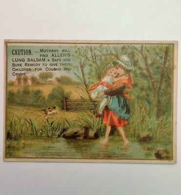 Antique Victorian Trade Card Allen's Lung Balsam Remedy Cure Perry Davis