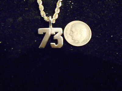 bling SILVER plated fashion jewelry number 73 pendant charm hip hop necklace ACE