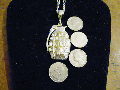 bling silver plated army thug hand granade pendant charm chain hip hop necklace
