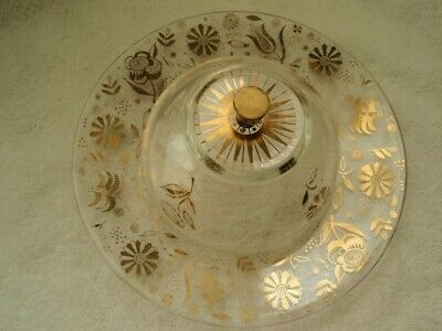 Vintage Georges Briard 1960 Glass Gold Trim Covered Dish