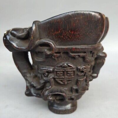 China Exquisite  OX Horn Cup Carved  Dragon
