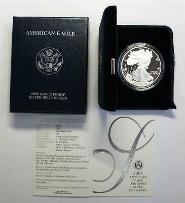 2005 U.S. Silver American Eagle * Proof * In Box with COA * 1 oz .999 Silver