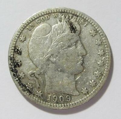 1909 U.S. Quarter Dollar * Barber * Better Grade * 90% Silver * Nice For Book