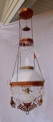 Antique Victorian Jeweled Ornate Brass Hanging Pull Down Oil Lamp