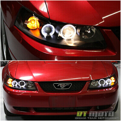 Black 1999 2000 2001 2002 2003 2004 Ford Mustang Led Halo Headlights Headlamps