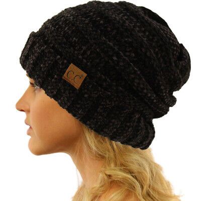 CC Winter Trendy Warm Oversized Baggy Stretchy Slouchy Beanie Hat Chenille Black