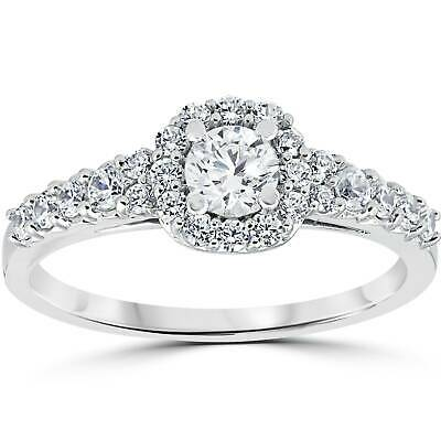 3/4CT Cushion Halo Round Genuine Diamond Engagement Ring 14K White Gold