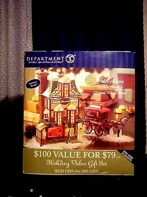 Dept 56 Dickens Village ABBEY LANE CHOCOLATES Holiday Gift Set In Box 56-58760