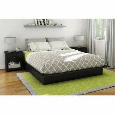 5b711ec743a South Shore Basics Queen Size Platform Bed with Molding 60   Furniture Black