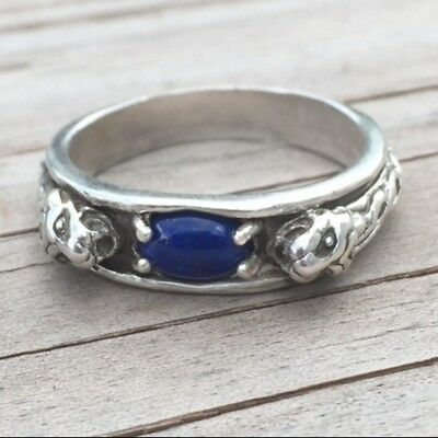 Medieval LION Ring .925 Sterling SILVER sz 10 with Natural Lapis Lazuli