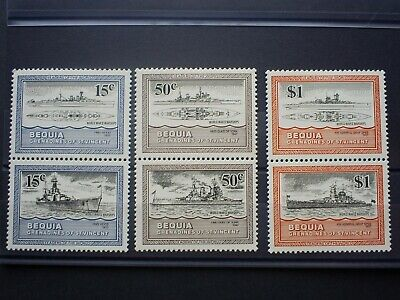 Grenadines Of St Vincent Stamps Bequia Warships Set  6 Un Mounted Mint .