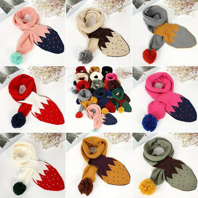 Kids Strawberry wool Scarf Scarves Boys Girls Winter Neck Warmer Childrens Baby