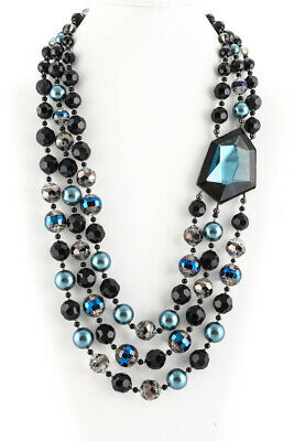 Appartement A Louer Silver Tone Crystal Faux Pearl Multi Strand Necklace Blue
