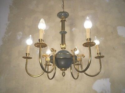 Old Empire Brass Chandelier 6 Fine Arm Ceiling Lamp Fixtures Antique Lightings