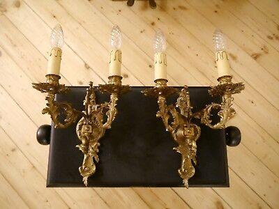baroque rococo french old 2 lights pair bronze brass fine wall lamps sconces