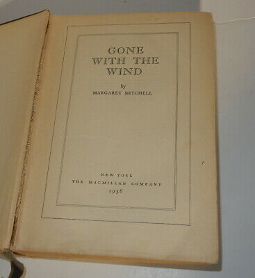 1936 GONE WITH THE WIND by Margaret Mitchell.  Macmillan, New York, June 1936.